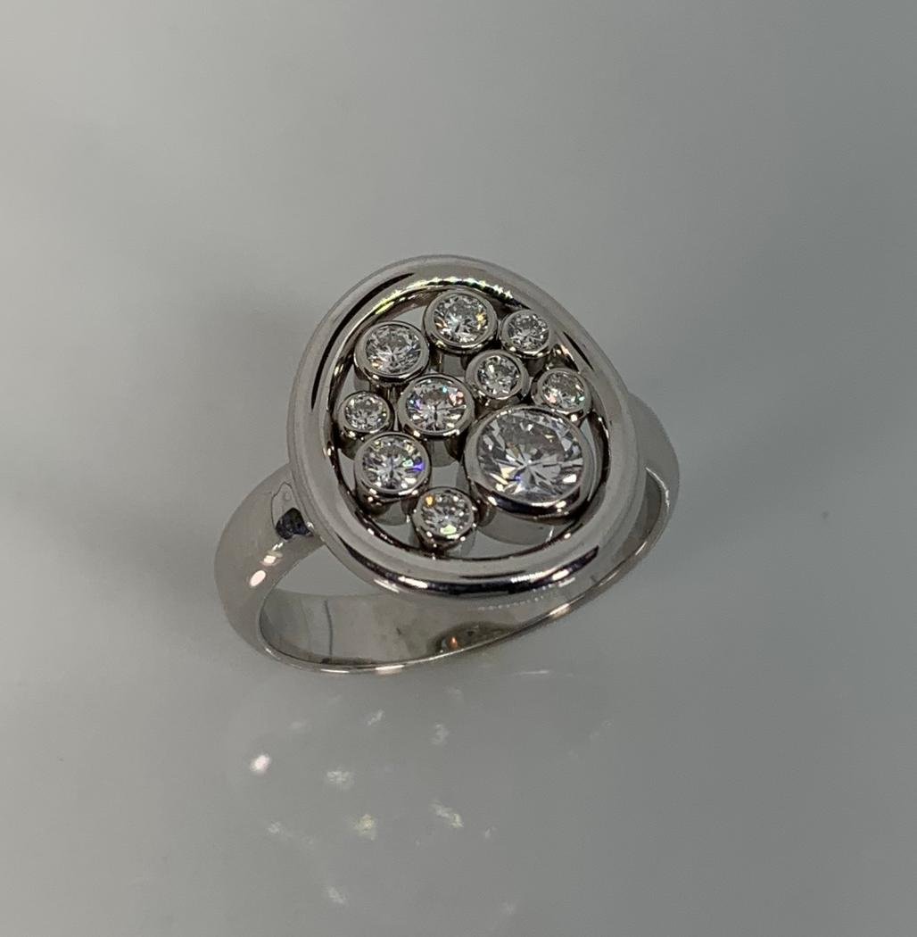 14k White Gold Bubble Diamond Ring