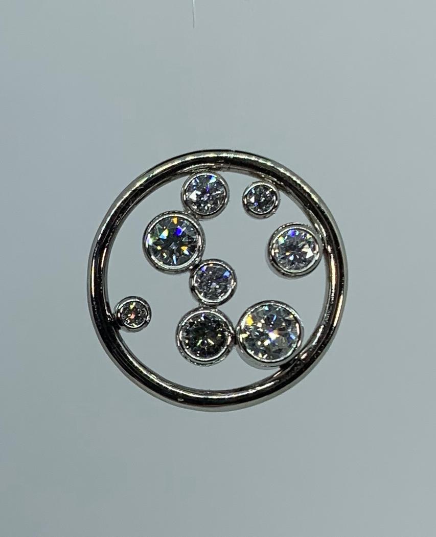 14k White Gold Diamond Bubble Pendant