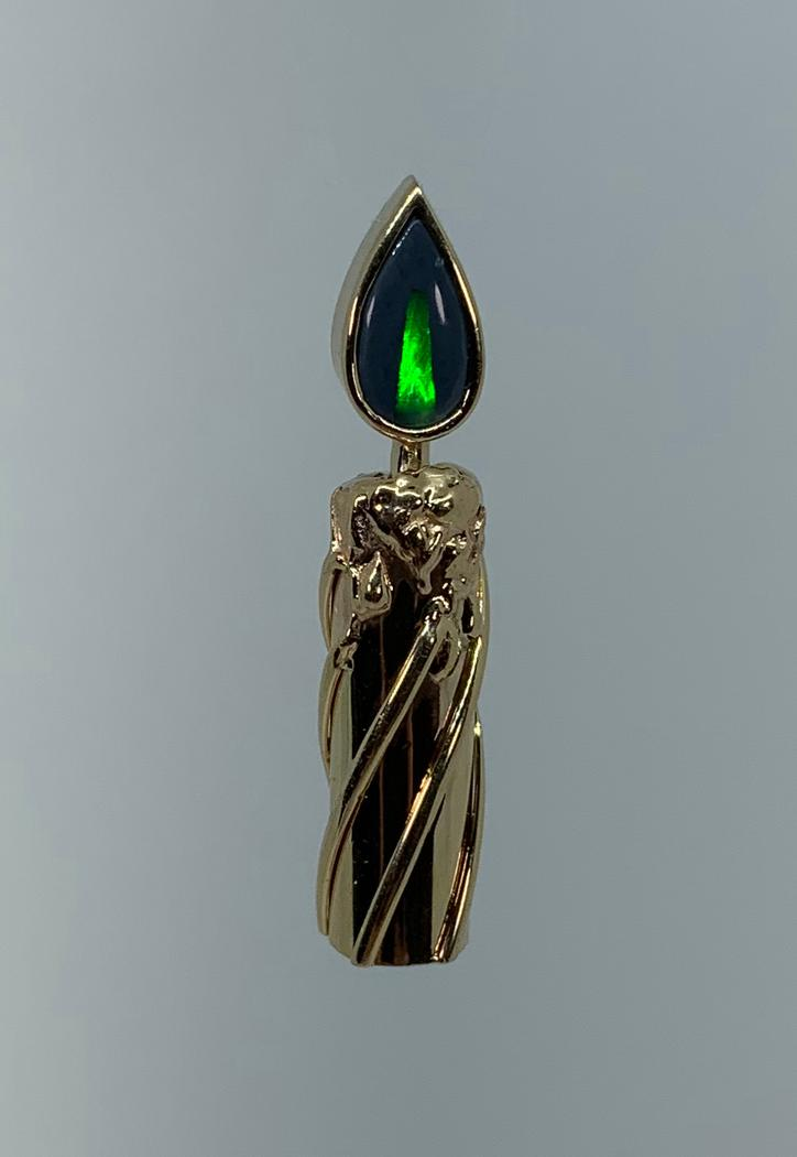 14k Yellow Gold Opal Candle Pendant