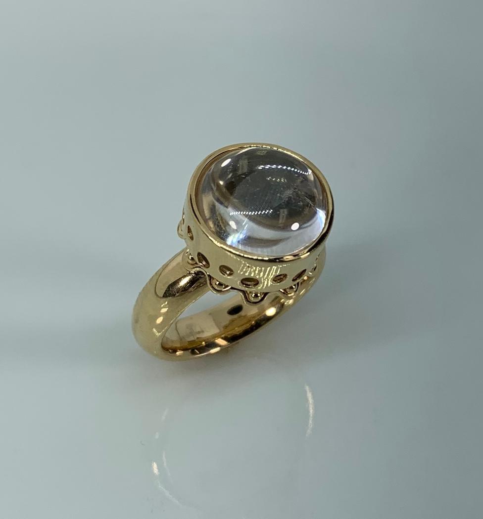 14k Yellow Gold Optic Quartz Ring