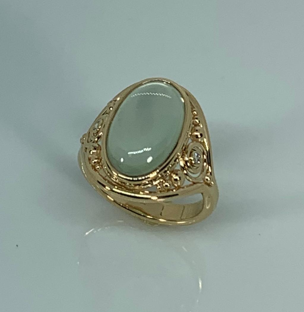 14k Yellow Gold Moonstone and Diamond Ring