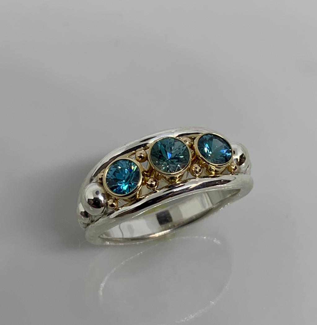 Sterling Silver and 14k Yellow Gold Blue Zircon Ring