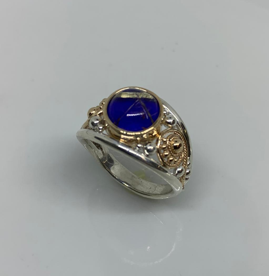 Sterling Silver and 14k Yellow Gold Rutilated Quartz Lapis Ring