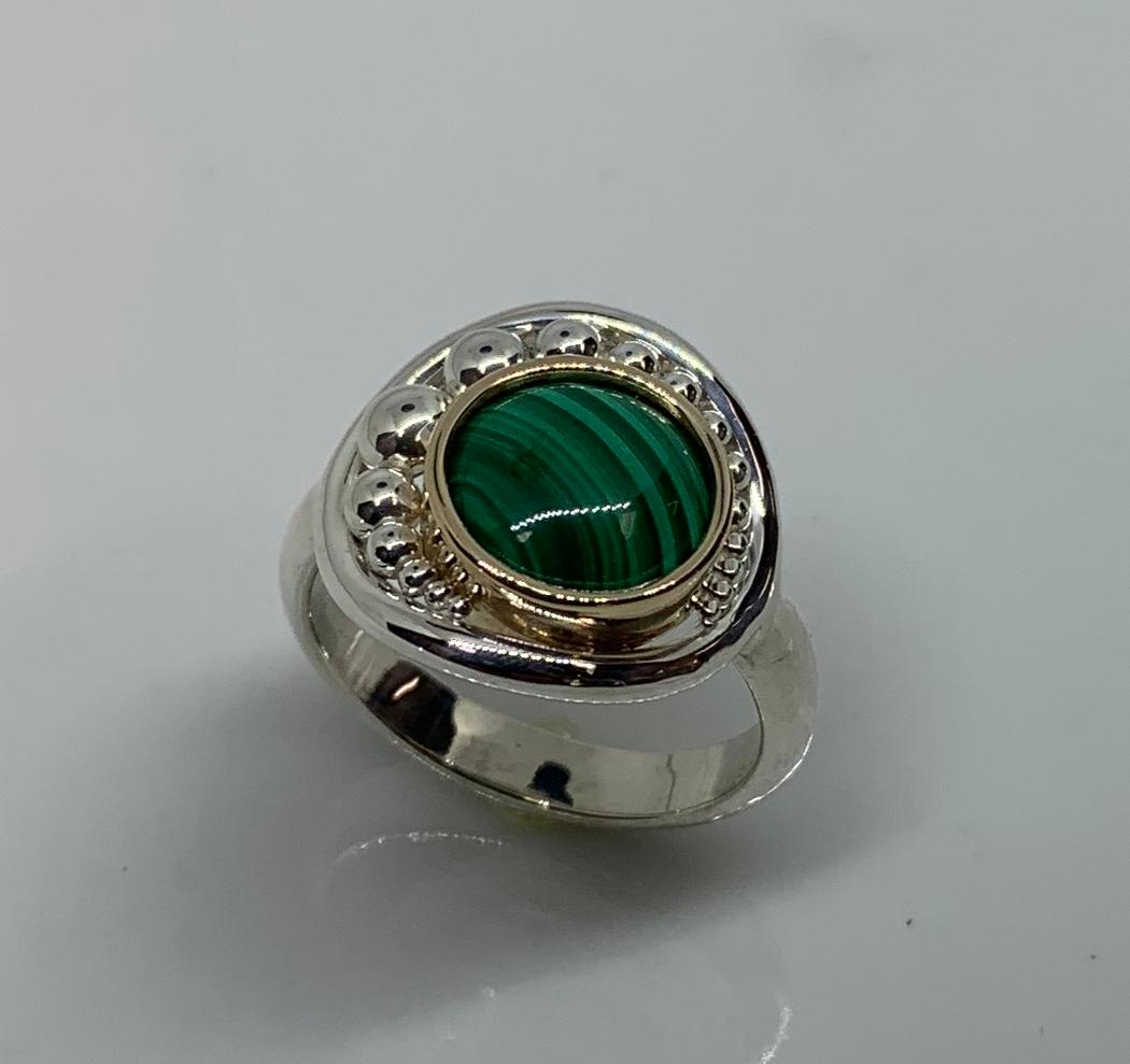 Sterling Silver and 14k yellow Gold Malachite Ring