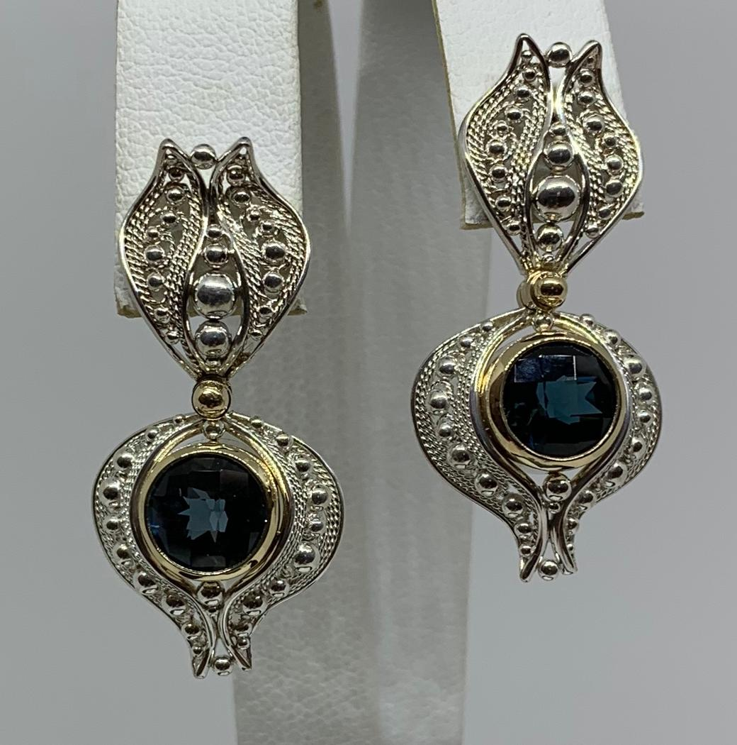Sterling Silver and 14k Yellow Gold Blue Topaz Filigree Earrings