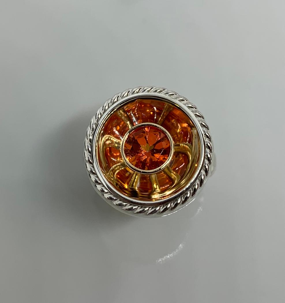 Sterling Silver and 14k Yellow Gold Orange Poppy Topaz Firepit Ring