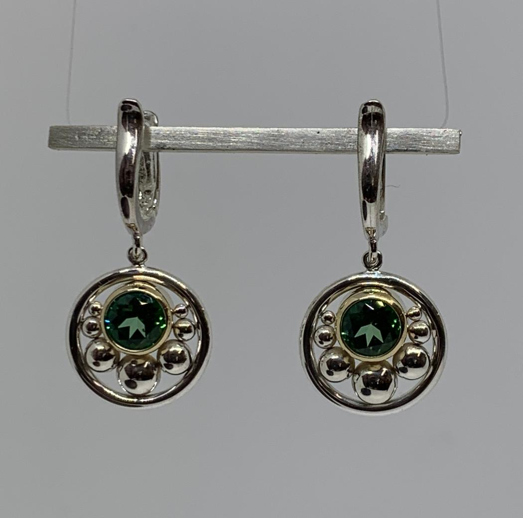 Sterling Silver and 14k Yellow Gold Green Topaz Earrings