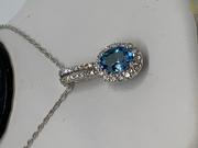 18k White Gold Santa Maria Aquamarine and Halo Diamond Pendant